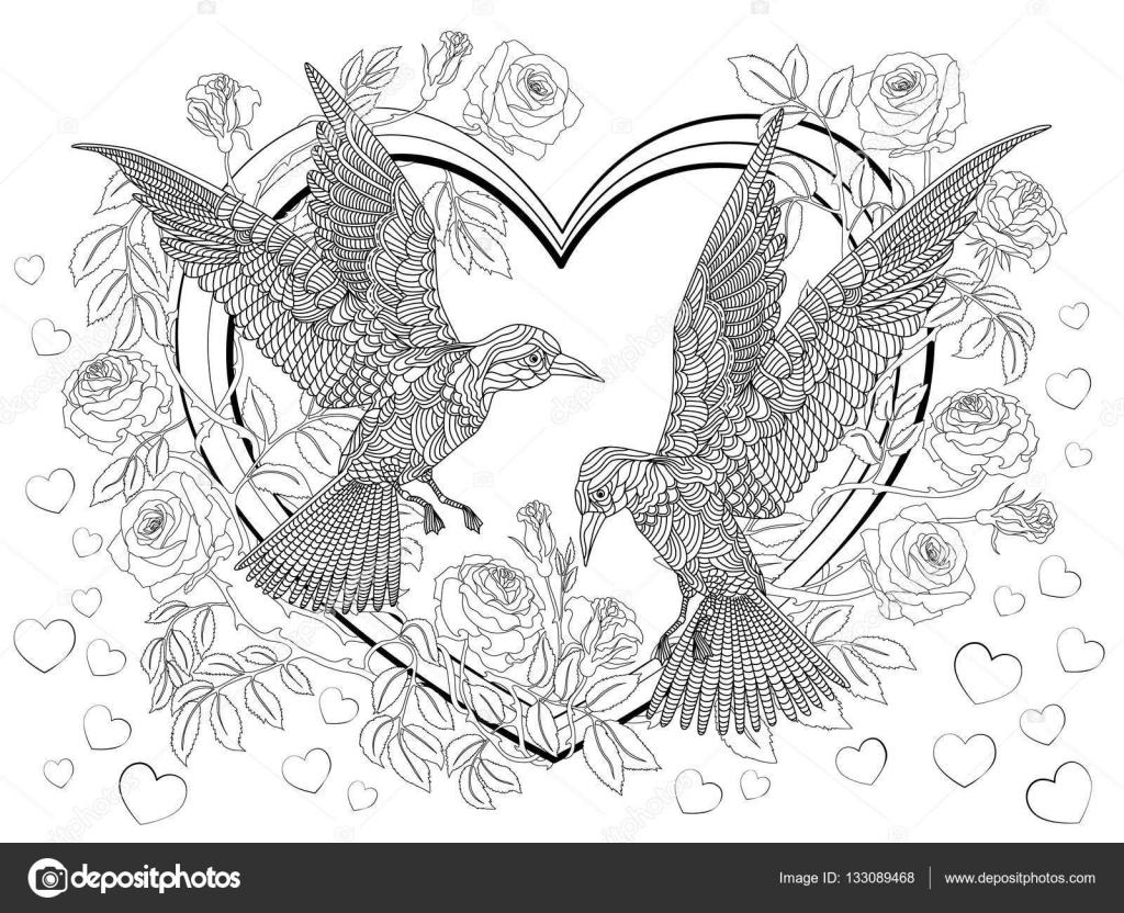 Handgezeichnete Vögel am Herzen in Rosen. Malvorlagen — Stockvektor ...