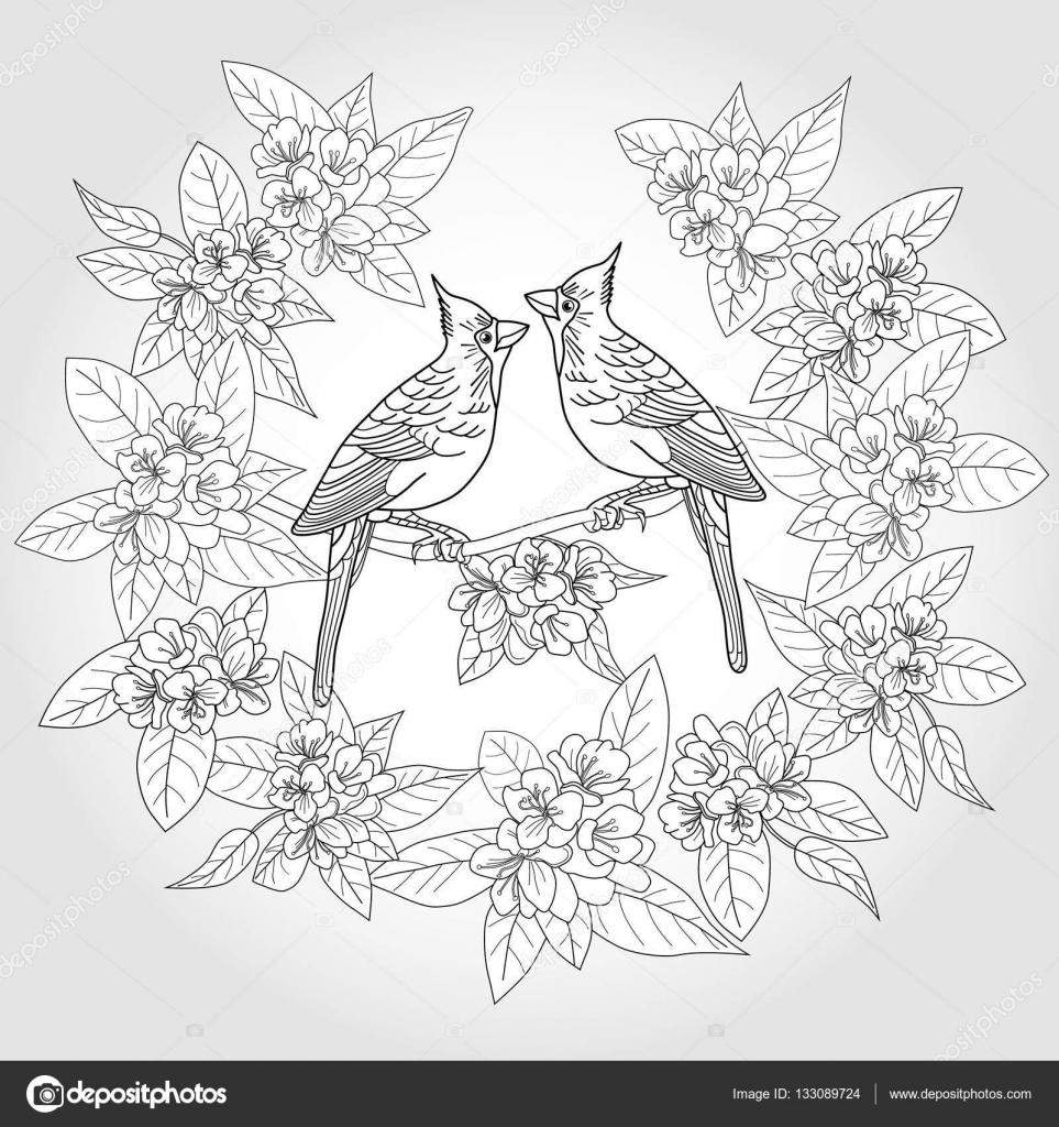 kleurplaat voor volwassenen met vogels en bloemen