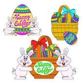 Velikonoční sada s králíky, košíky, vejce