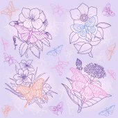 Pattern with butterflies and flowers outline. Vintage
