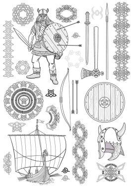 Set Viking life. Sketch. Vector illustration.