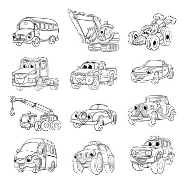 Set of fanny cartoon transport. Coloring book