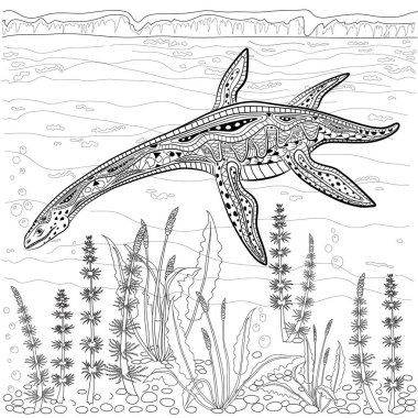Plesiosaur - prehistoric reptile  in nature. Antistress Coloring