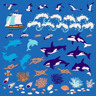 Nautical cartoon set: Dolphins, whales-killers, fish, seagull, c