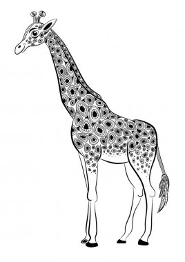 Stylized vector giraffe, zentangle isolated on white background