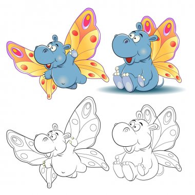 Funny cartoon hippo image of a butterfly. Coloring book.