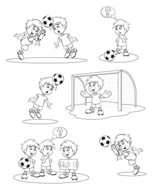 Set cartoon soccer players.Vector illustration. Coloring book.