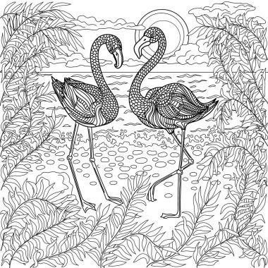Hand drawn birds - flamingos on the sea beach