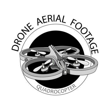 Vector label drone-quadrocopter label