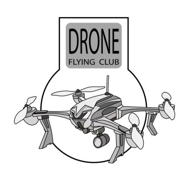 Vector label drone flying club label