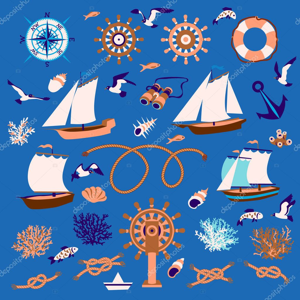 Nautical set: sailboats, fish, seagull, coral, ropes