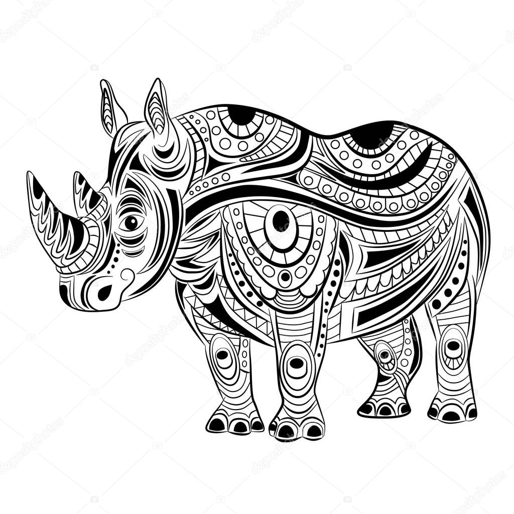 Hand drawn ink zentangle rhinoceros for relax and meditation