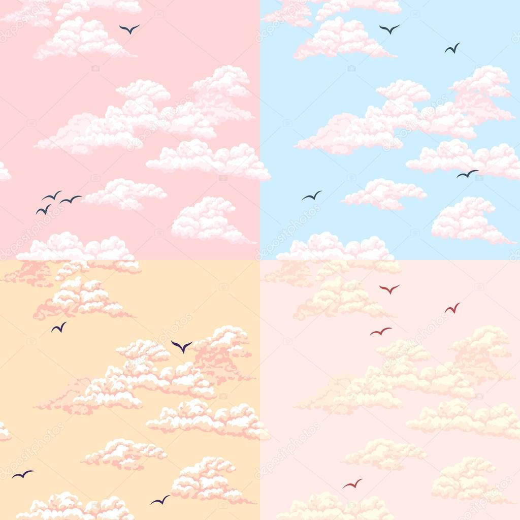 Seamless pattern. Sky, clouds, birds