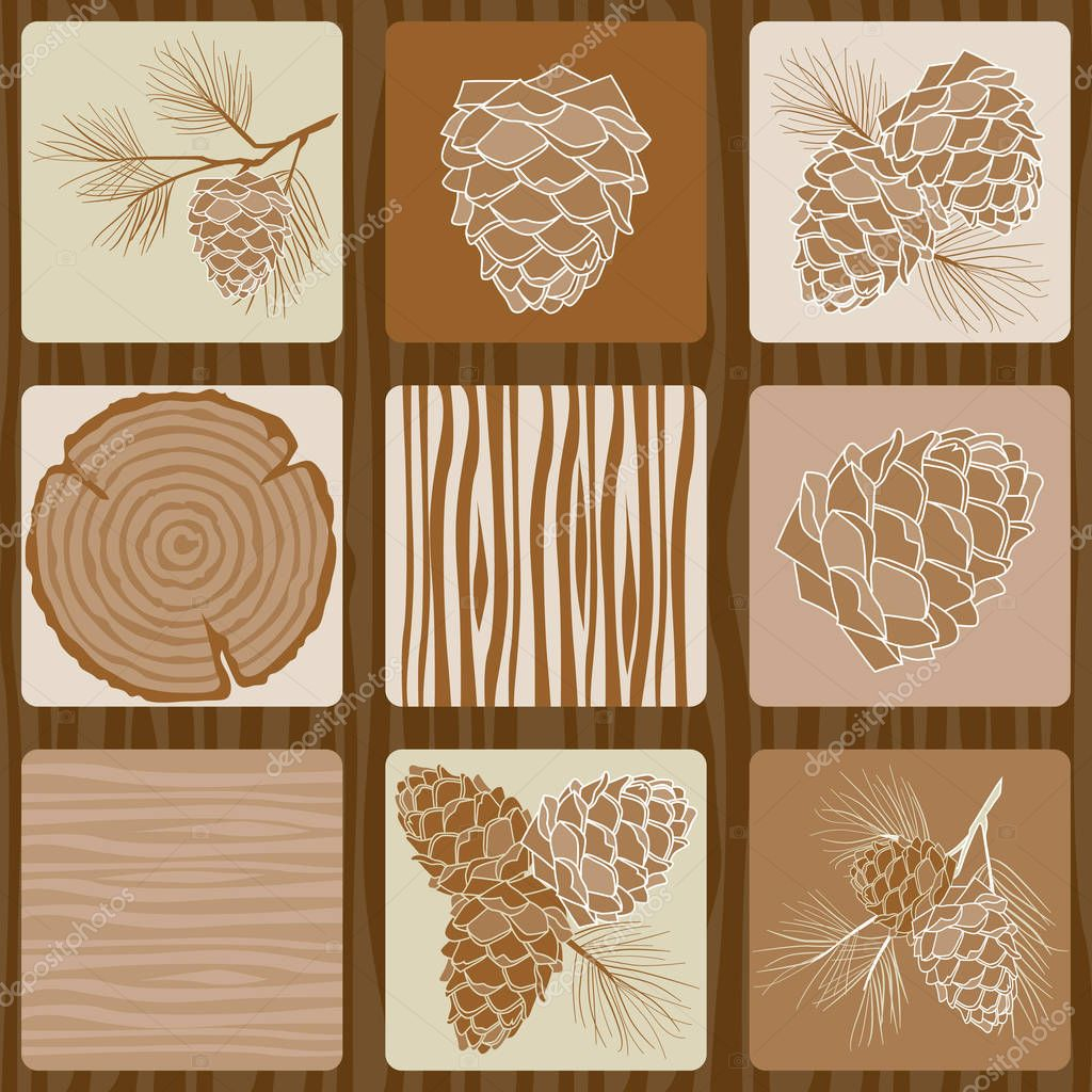 Vintage Seamless pattern with pine cone