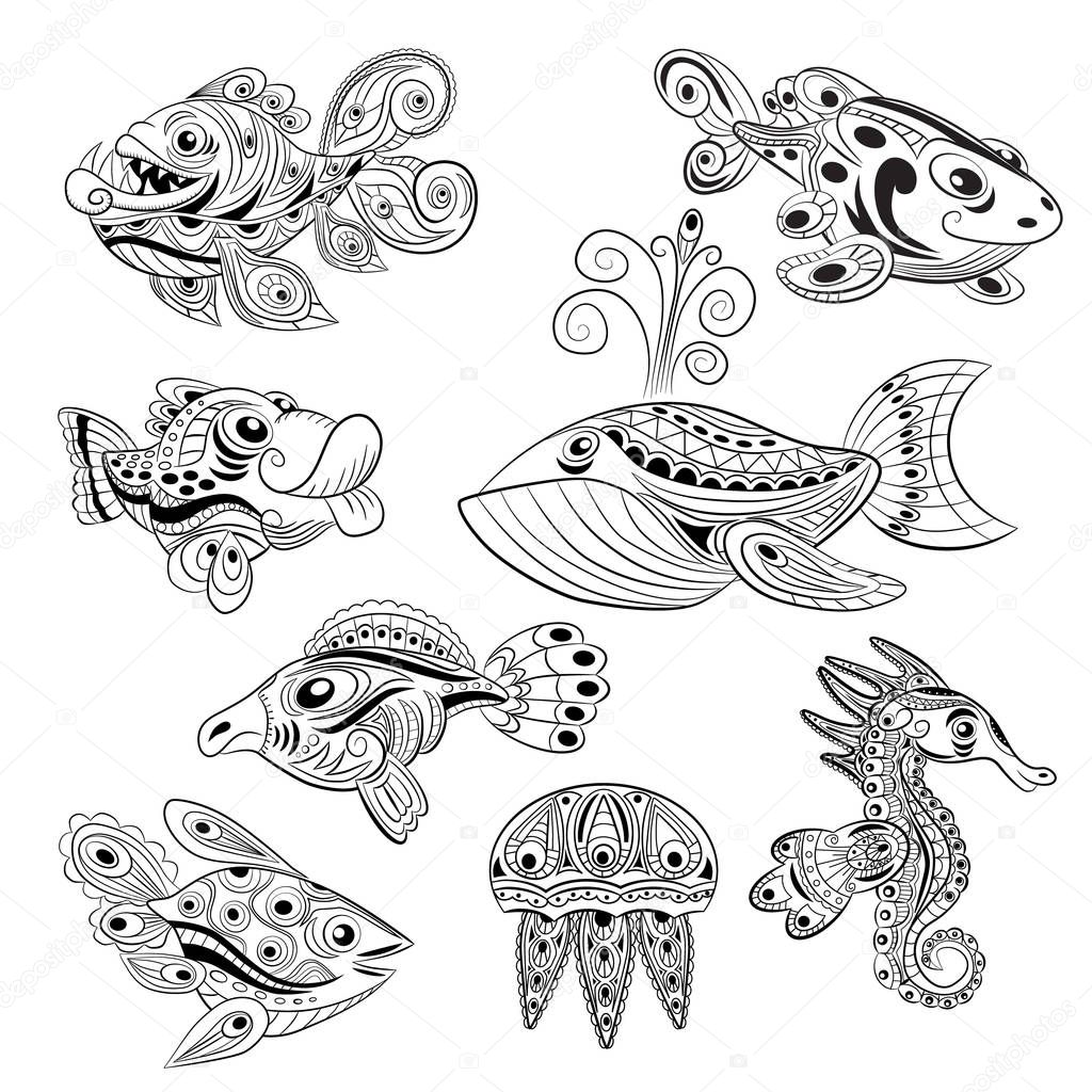 Hand drawn ink zentangle set with many fishes for relax