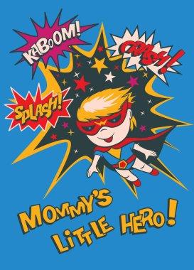 Funny cartoon character - a boy-superhero. Elements of superhero