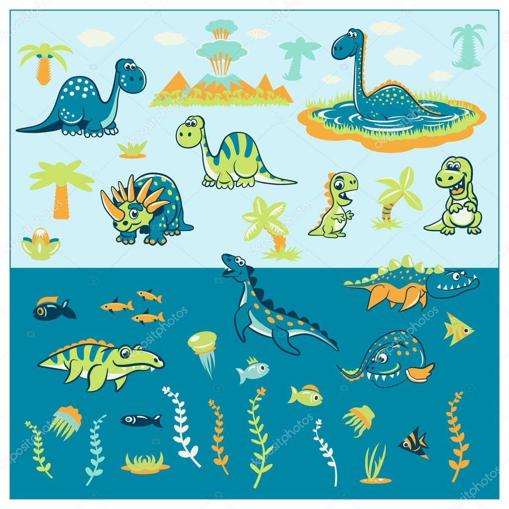 Striped Seamless pattern - marine life