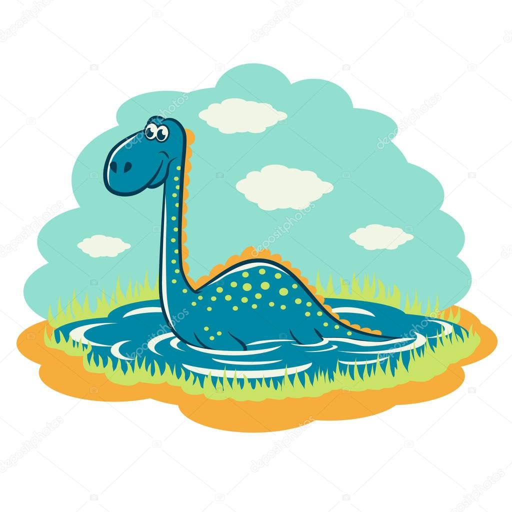 Funny cartoon dinosaur that sits on the lake