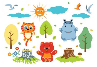 Vector set of funny cartoon animals - cat, bear, hippo