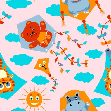 Seamless pattern with kites, clouds, sun, birds and bows