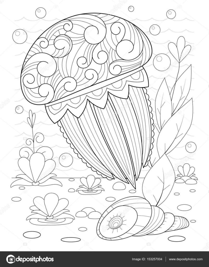 Dalgalar Ve Deniz Yosunu Ile Dekoratif Denizanası El çekilmiş Stok