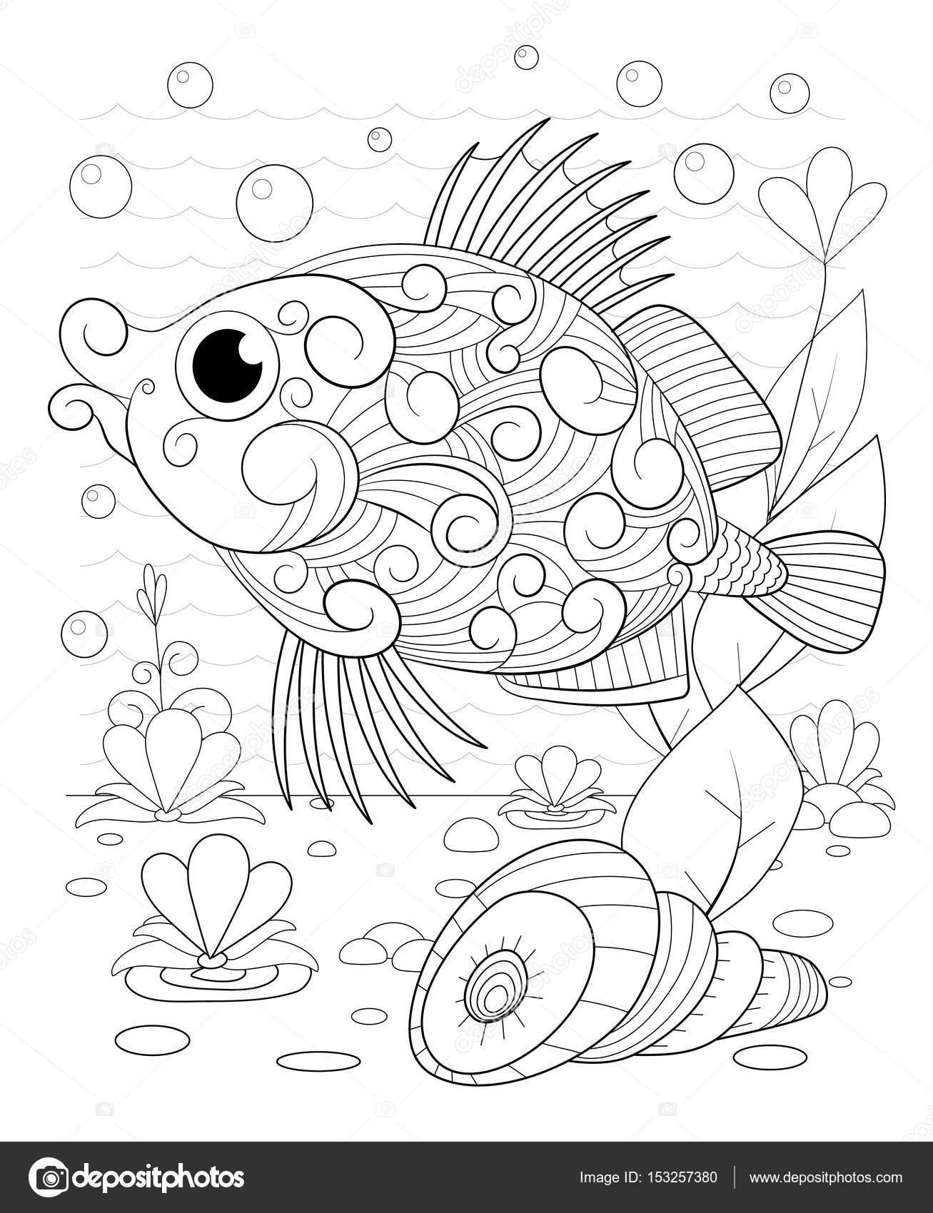 Elle çizilmiş Dekoratif Balık Dalgalar Ve Deniz Yosunu Ile Stok