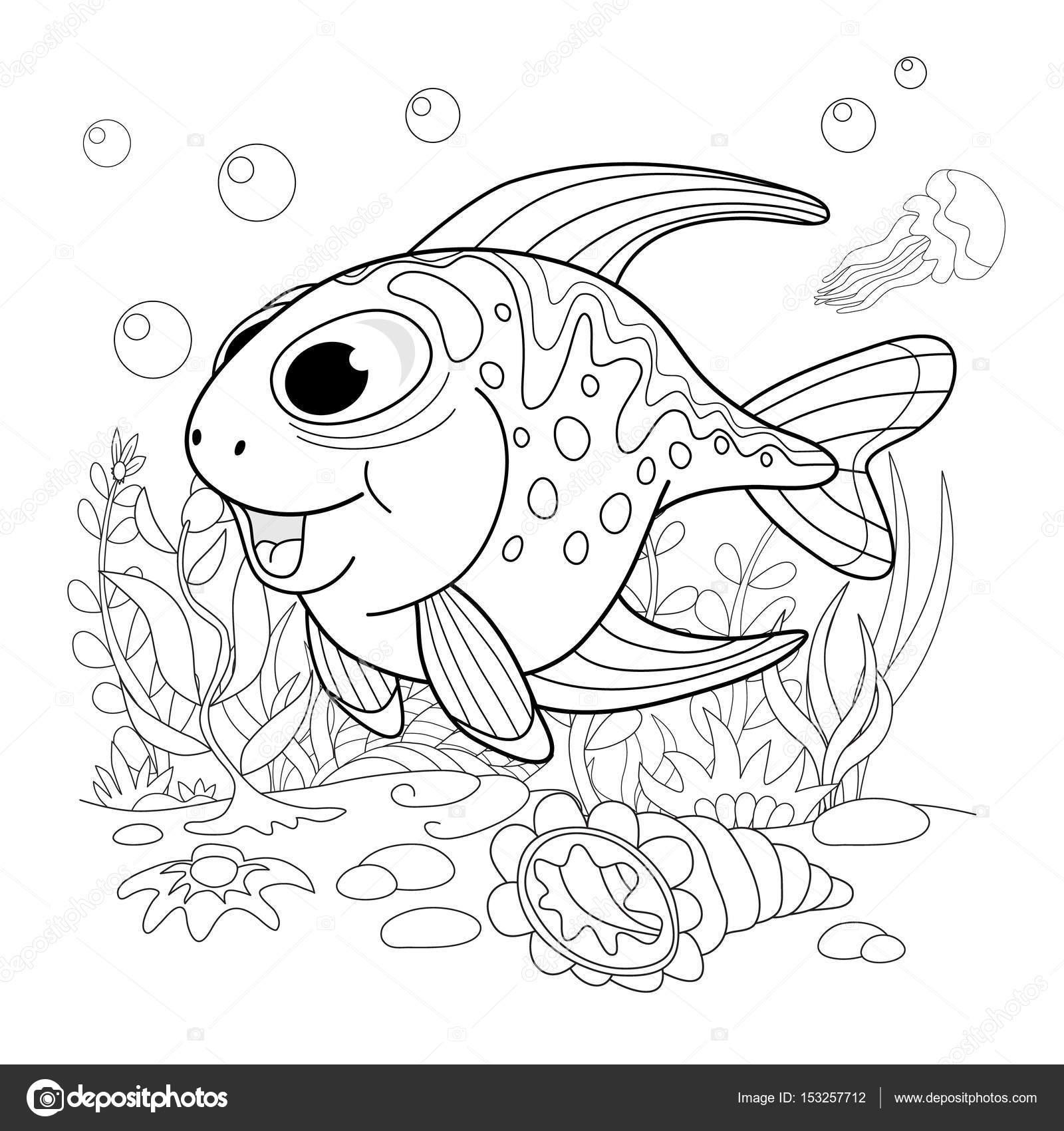 Dibujos animados de pescado de fanny. Ilustración de una página para ...