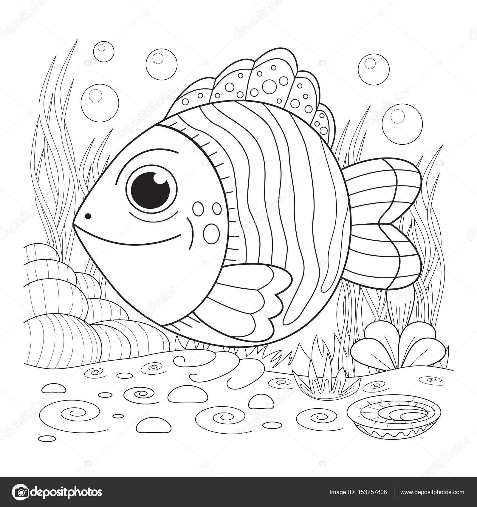 漫画ファニーの魚ぬりえページのイラスト ストックベクター