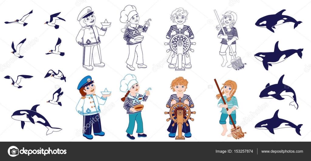 Nautica Karikatür Karakter Kümesi Boyama Sayfası Stok Vektör