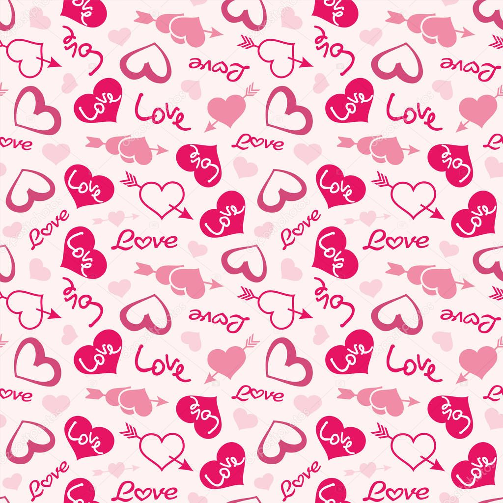 Love theme hearts valentine's day seamless pattern ...