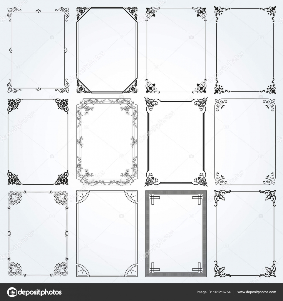 Genoeg Decoratieve rechthoek kaders en randen instellen 2 vector @FW37