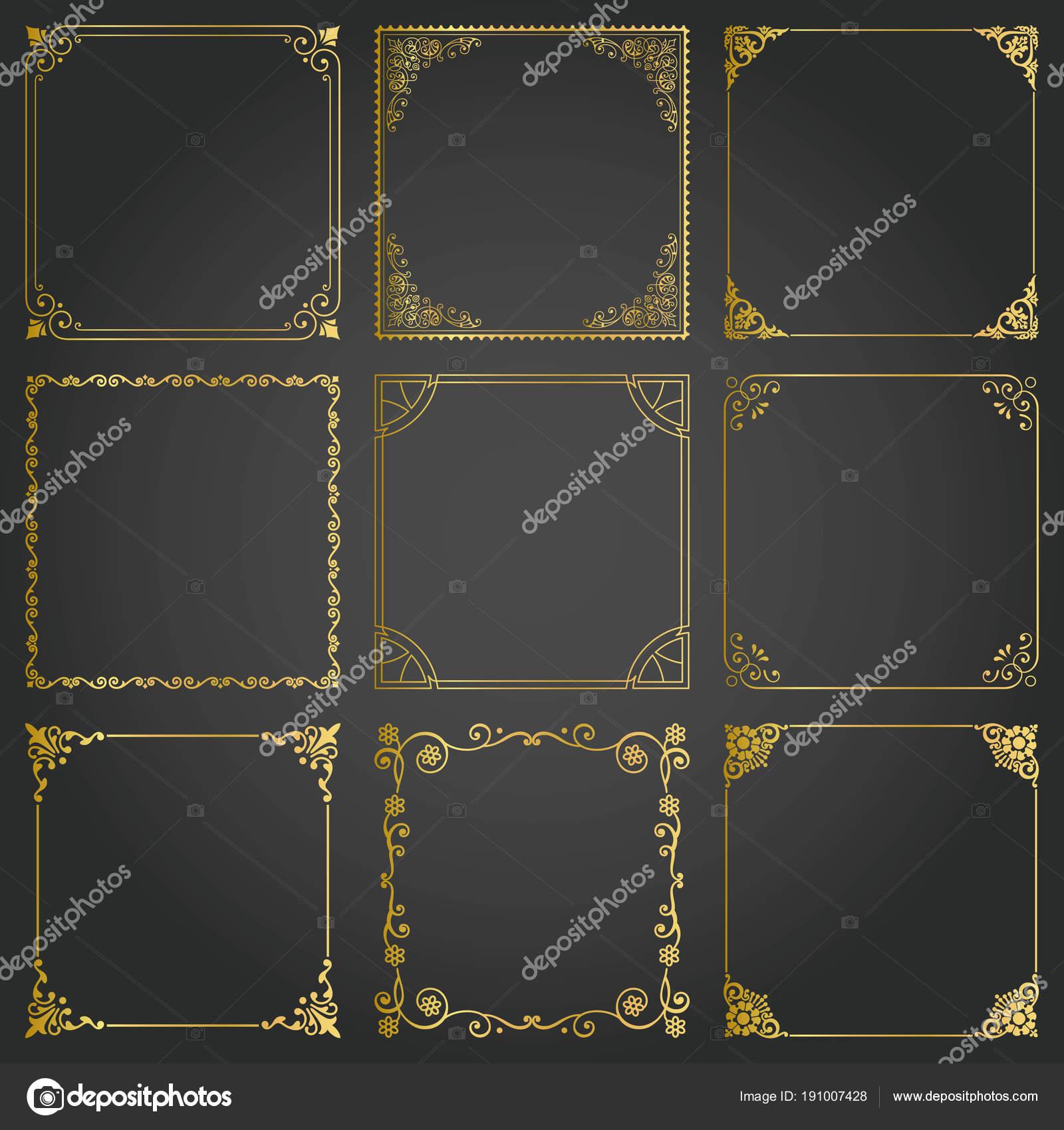 Dekorative gold Rahmen und Grenzen Quadrat gesetzt Vektor ...