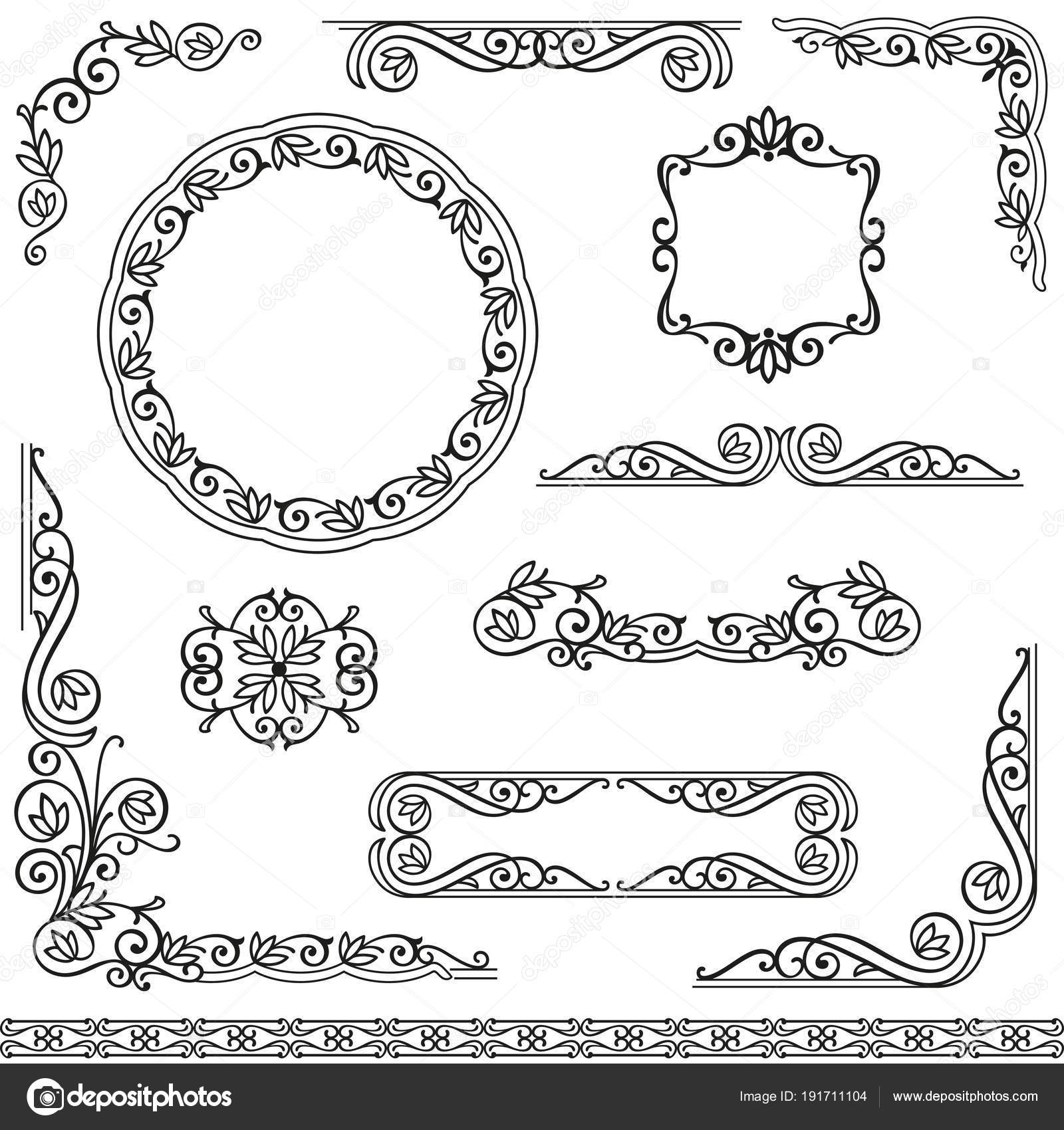 Vintage decorative frames design element set — Stock Vector ...