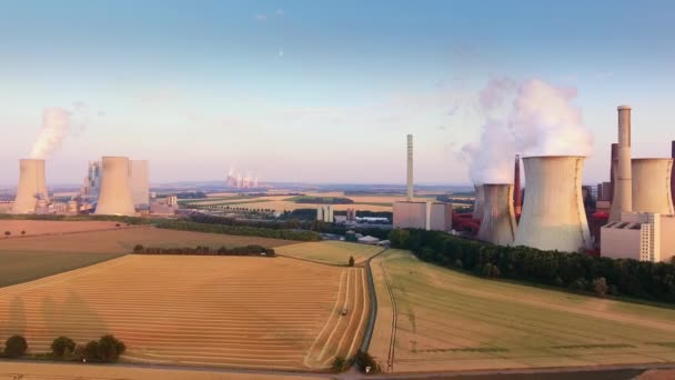 Aerial Shot Of Coal-Fired Power Stations Niederaussem and Neurath, North Rhine-Westphalia, Germany, owned and operated by RWE Power.
