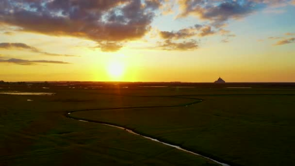 Scenic View of Le Mont-Saint-Michel at Sunset, France, France
