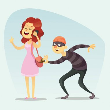 Vector illustration - funny comic Thief Steals a Purse from Hapless girl woman chat on phone Character Icon Cartoon Design Template