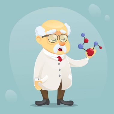 vector cartoon illustration old funny scientist character wearing glasses and lab coat
