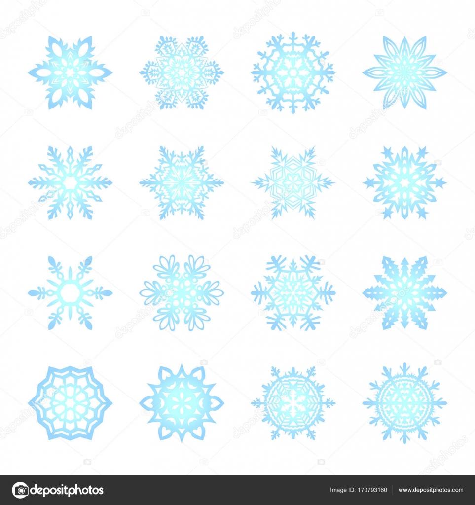 Separate Schneeflocken Doodles Vektor rustikale Weihnachten Cliparts ...