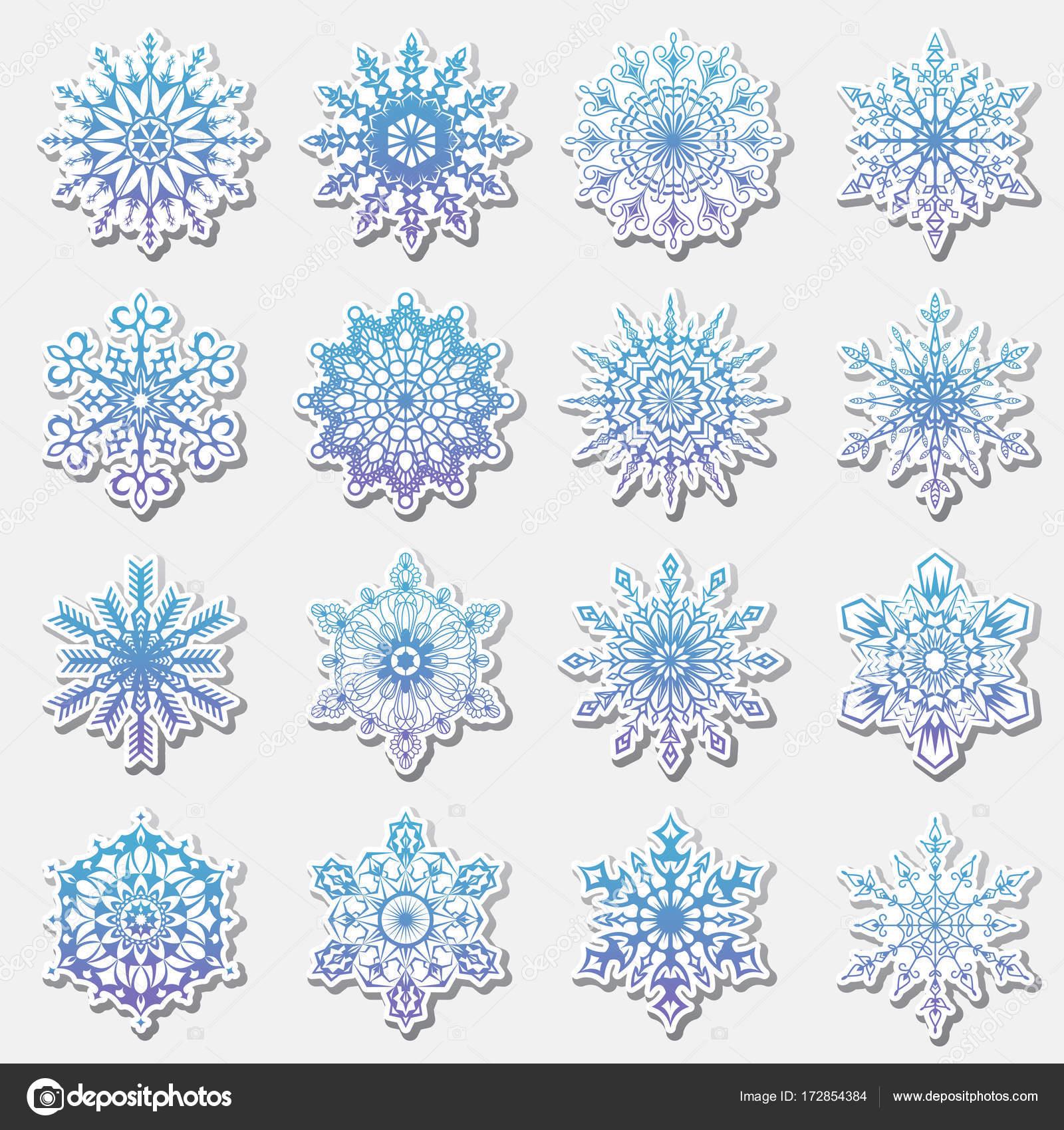 雪のいたずら書きの別個のアイコン ベクトル素朴なクリスマス クリップ