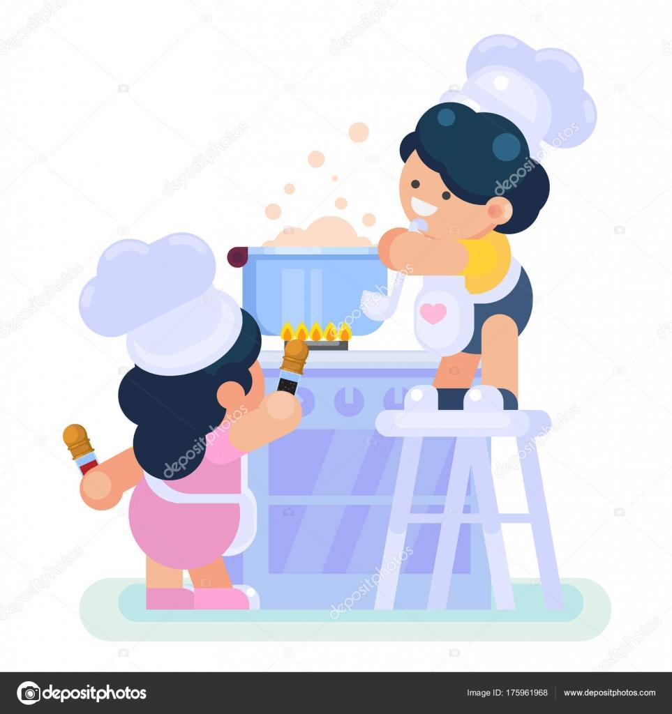 Glückliche kleine lustige Mädchen und jungen Koch Koch Kochen in der ...