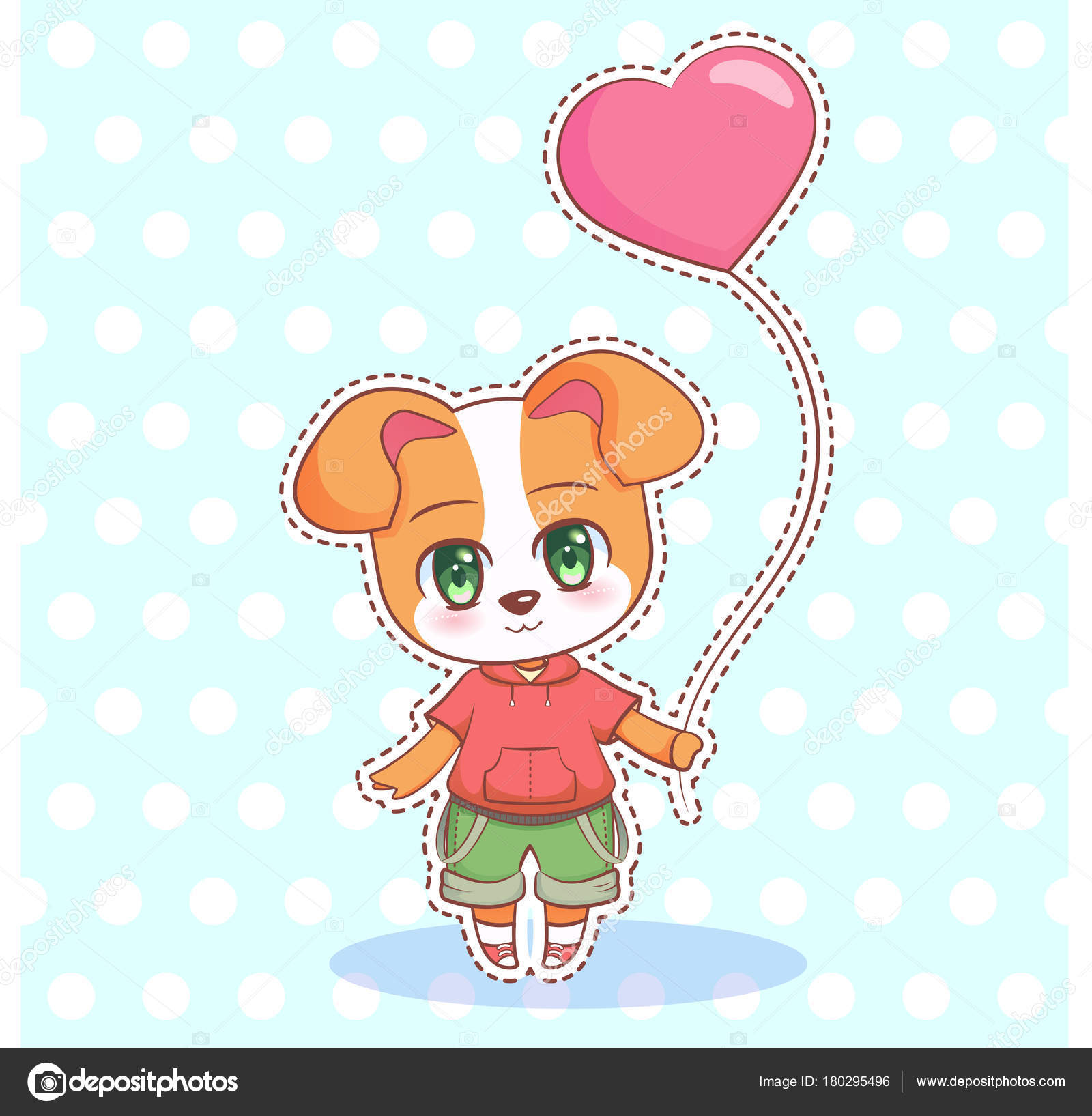 sweet little cute kawaii anime cartoon puppy dog boy and girl with