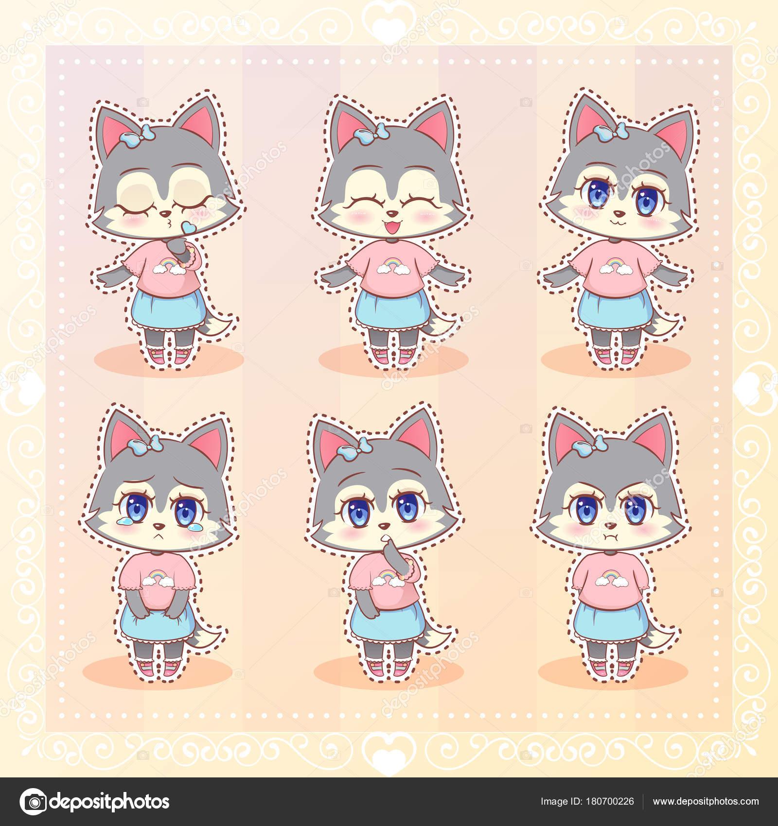 Dulce Kitty kawaii cute anime dibujos animados perro husky lobo ...