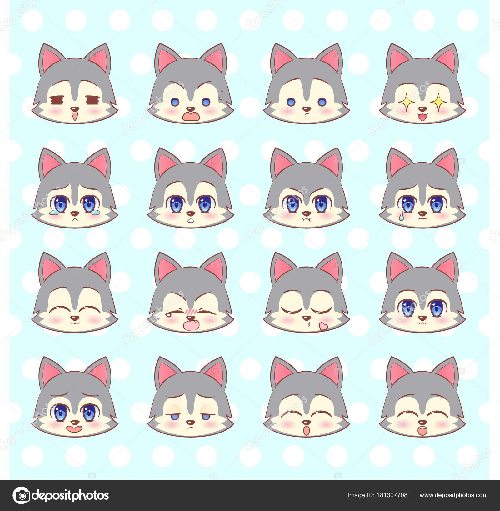 émoticônes Emoji Smiley Ensemble Coloré Sweet Kitty Petit