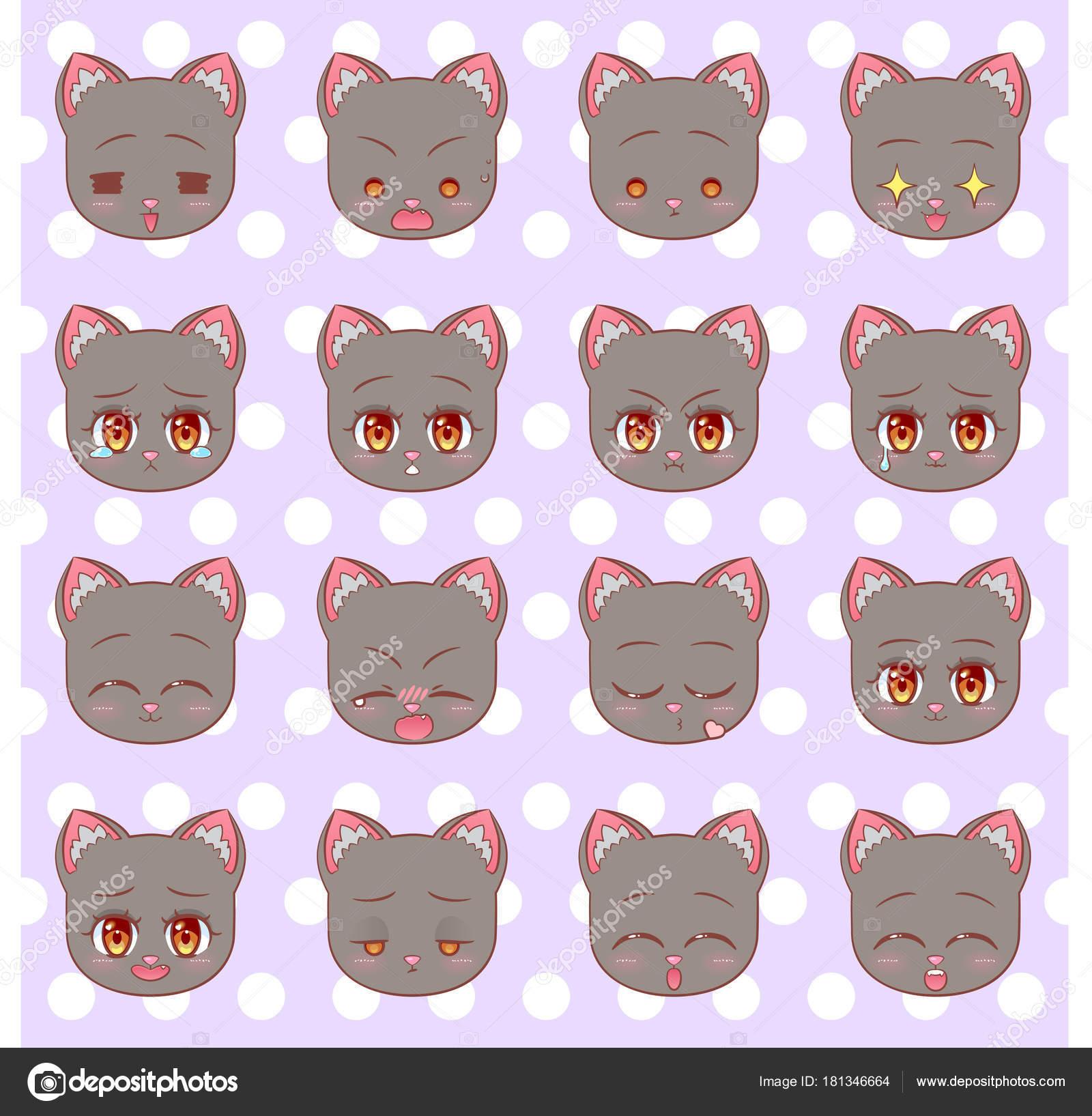 Emoticones Emoji Smiley Ensemble Colore Sweet Kitty Kawaii Cute