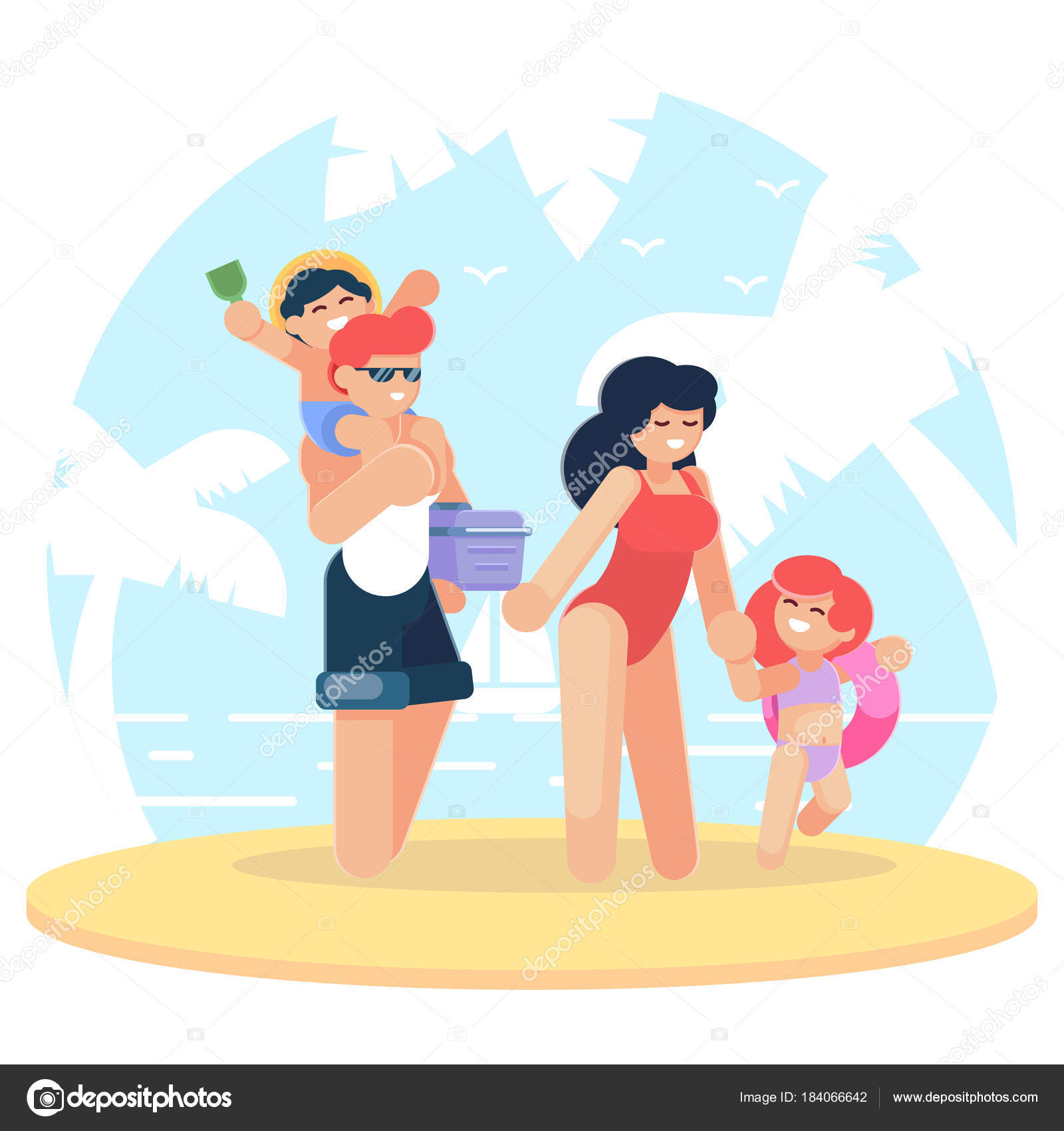 Happy Family At The Beach Having Fun Traveling Together