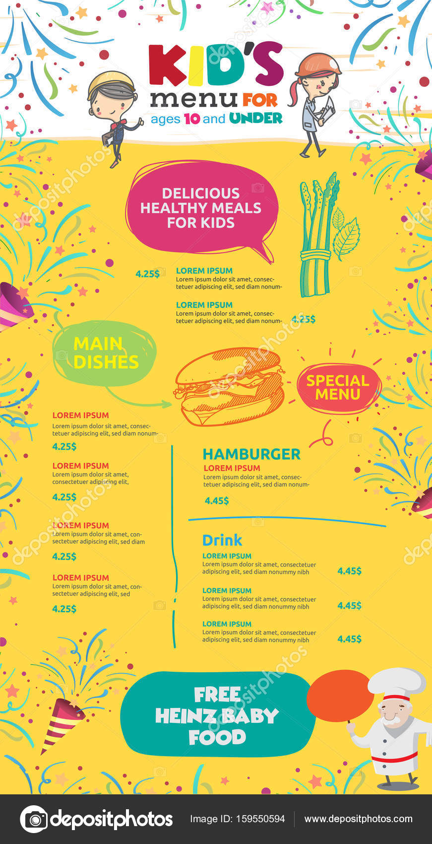 vector kids menu template stock vector phaisarnwong 159550594