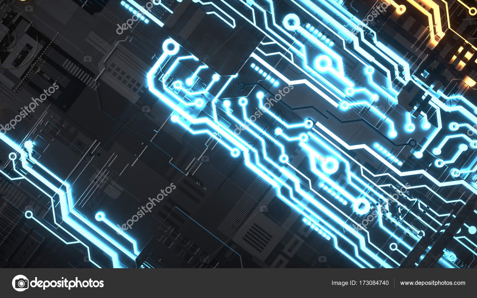 Electronic Circuitry With Gold On Black Background Stock Photo Circuits Diagrams