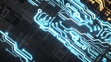 Electronic circuitry with gold on black background.