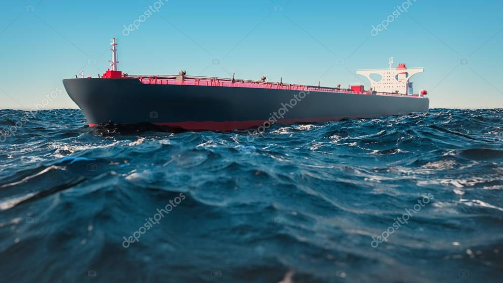 Cargo ships, they were in the middle of the sea.