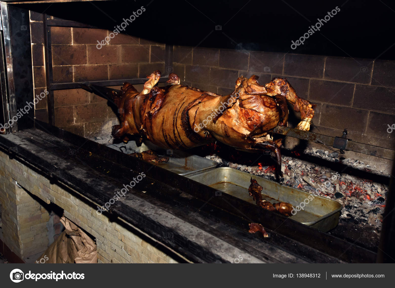 Delicious Roasted Pig On Fire Stock Photo Sonyachny 138948312